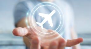 Homem de negócios que registra o seu voo com aplicação digital moderna 3 Fotos de Stock