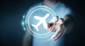 Homem de negócios que registra o seu voo com aplicação digital moderna 3 Fotografia de Stock