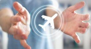 Homem de negócios que registra o seu voo com aplicação digital moderna 3 Fotos de Stock Royalty Free