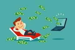 Homem de negócios que relaxa na cadeira de praia quando o dinheiro sair do seu Foto de Stock Royalty Free