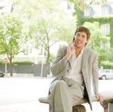 Homem de negócios na chamada. imagens de stock royalty free