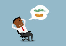 Homem de negócios que sonha sobre o dinheiro e a riqueza Foto de Stock