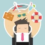 Homem de negócios que sonha sobre suas férias Fotografia de Stock