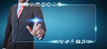 Homem de negócios que surfa no Internet com relação tátil digital 3 Imagem de Stock Royalty Free