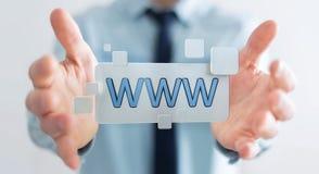 Homem de negócios que surfa no Internet usando a barra tátil 3D do endereço da Web Imagem de Stock