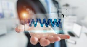Homem de negócios que surfa no Internet usando a barra tátil 3D do endereço da Web Foto de Stock Royalty Free