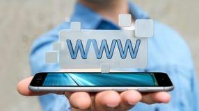 Homem de negócios que surfa no Internet usando a barra tátil 3D do endereço da Web Foto de Stock