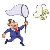 Homem de negócios que tenta travar um sinal de dólar ilustração stock