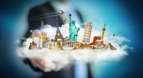 Homem de negócios que toca em uma nuvem completamente de monumentos famosos com seu f Imagens de Stock