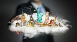 Homem de negócios que toca em uma nuvem completamente de monumentos famosos com seu f Fotografia de Stock
