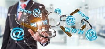 Homem de negócios que toca no ícone do contato da rendição 3D e que amplia o gl Fotos de Stock Royalty Free