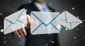 Homem de negócios que toca no ícone do email do voo da rendição 3D com sua aleta Foto de Stock