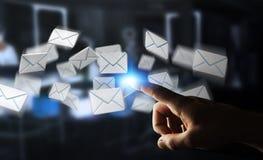 Homem de negócios que toca no ícone do email do voo da rendição 3D com sua aleta Fotografia de Stock