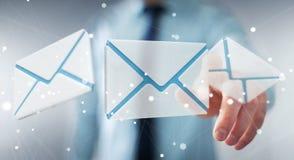 Homem de negócios que toca no ícone do email do voo da rendição 3D com sua aleta Fotos de Stock