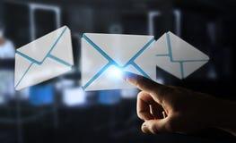 Homem de negócios que toca no ícone do email do voo da rendição 3D com sua aleta Fotografia de Stock Royalty Free