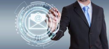 Homem de negócios que toca no ícone do email do voo da rendição 3D com um dígito Imagens de Stock Royalty Free