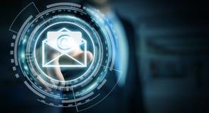 Homem de negócios que toca no ícone do email do voo da rendição 3D com sua aleta Imagens de Stock