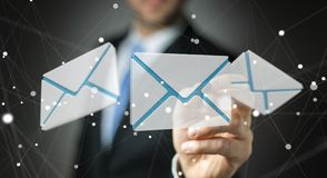 Homem de negócios que toca no ícone do email do voo da rendição 3D com um dígito Fotos de Stock