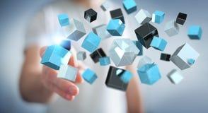 Homem de negócios que toca no renderi brilhante azul de flutuação da rede 3D do cubo Fotos de Stock