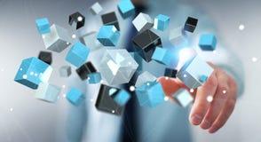 Homem de negócios que toca no renderi brilhante azul de flutuação da rede 3D do cubo Imagens de Stock