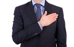 Homem de negócios que toma o juramento. imagens de stock royalty free