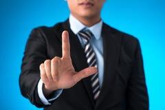 Homem de negócios que trabalha com o computador moderno novo Imagens de Stock Royalty Free