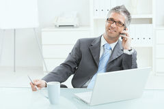 Homem de negócios que trabalha na mesa Imagem de Stock