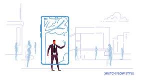 Homem de negócios que usa a aplicação móvel que toma a foto do selfie o homem de negócio em linha do conceito de uma comunicação  ilustração stock