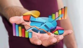 Homem de negócios que usa as cartas 3D e barras digitais Foto de Stock
