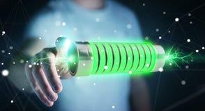 Homem de negócios que usa a bateria verde com rendição dos relâmpagos 3D Imagem de Stock