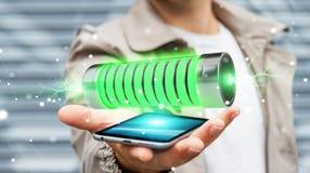 Homem de negócios que usa a bateria verde com rendição dos relâmpagos 3D Fotos de Stock