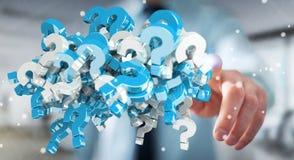 Homem de negócios que usa 3D que rende pontos de interrogação Fotografia de Stock Royalty Free