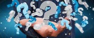Homem de negócios que usa 3D que rende pontos de interrogação Foto de Stock