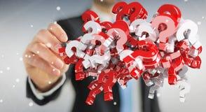 Homem de negócios que usa 3D que rende pontos de interrogação Imagem de Stock Royalty Free