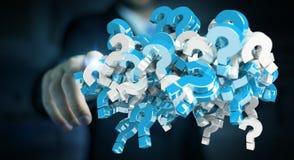Homem de negócios que usa 3D que rende pontos de interrogação Imagem de Stock