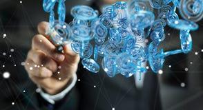 Homem de negócios que usa a esfera azul do arobase digital para surfar no interno Imagem de Stock