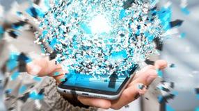 Homem de negócios que usa a esfera da rede de dados da rendição 3D com seu mobi Fotografia de Stock Royalty Free