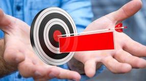 Homem de negócios que usa o alvo da rendição 3D Fotos de Stock
