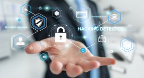 Homem de negócios que usa o antivirus para obstruir uma rendição do ataque 3D do cyber Fotografia de Stock