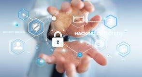 Homem de negócios que usa o antivirus para obstruir uma rendição do ataque 3D do cyber Fotos de Stock Royalty Free