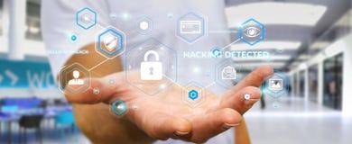 Homem de negócios que usa o antivirus para obstruir uma rendição do ataque 3D do cyber Imagens de Stock Royalty Free