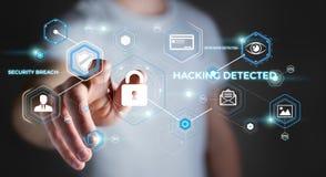 Homem de negócios que usa o antivirus para obstruir uma rendição do ataque 3D do cyber Fotos de Stock