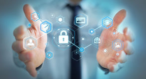Homem de negócios que usa o antivirus para obstruir uma rendição do ataque 3D do cyber Imagem de Stock Royalty Free