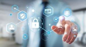 Homem de negócios que usa o antivirus para obstruir uma rendição do ataque 3D do cyber Imagem de Stock
