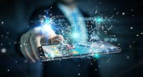 Homem de negócios que usa o código binário digital no renderi do telefone celular 3D Imagem de Stock Royalty Free