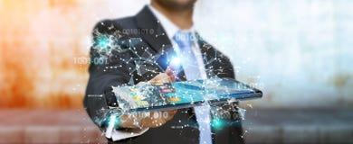 Homem de negócios que usa o código binário digital no renderi do telefone celular 3D Imagens de Stock