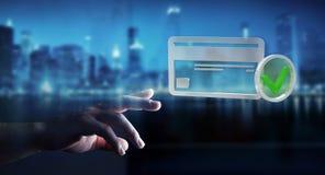 Homem de negócios que usa o cartão de crédito para pagar a rendição 3D em linha Fotos de Stock