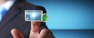 Homem de negócios que usa o cartão de crédito para pagar a rendição 3D em linha Fotografia de Stock