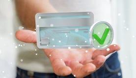 Homem de negócios que usa o cartão de crédito para pagar a rendição 3D em linha Imagens de Stock Royalty Free