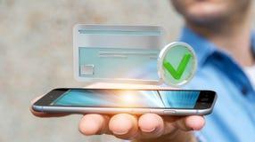 Homem de negócios que usa o cartão de crédito para pagar a rendição 3D em linha Foto de Stock